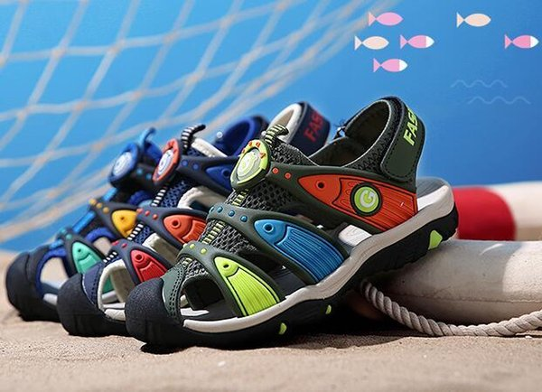 Insole Length 15-23 CM 6-14 Years Children Boys Beach High Quality Girls Baotou Soft Bottom Kids Summer Sandals Shoes Wholesale 6 Pairs