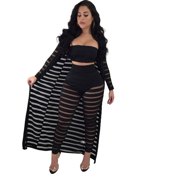 Adogirl 2018 Fashion Hollow Out Two Piece Set and Cloak Spring Summer Women Suits Tank Top and Pants Set Casual Three-Piece