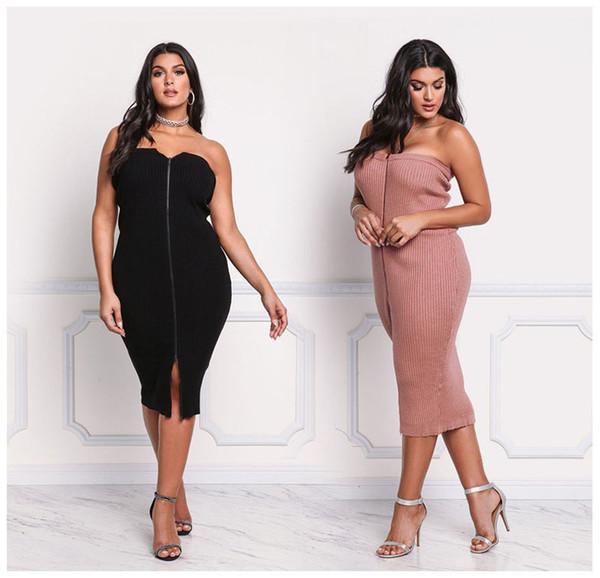 Les femmes s'habillent automne hiver nouvelles robes moulantes enveloppées, plus la taille des vêtements pour femmes Sexy fermeture à glissière Tricoté stretch robe de soirée décontractée 3xl 811
