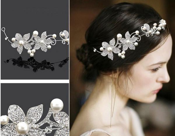 2018 gelin şapkalar, Kore kırmızı, beyaz düğün aksesuarları, gelinlik, inci çiçek aksesuarları toptan, fabrika doğrudan satış