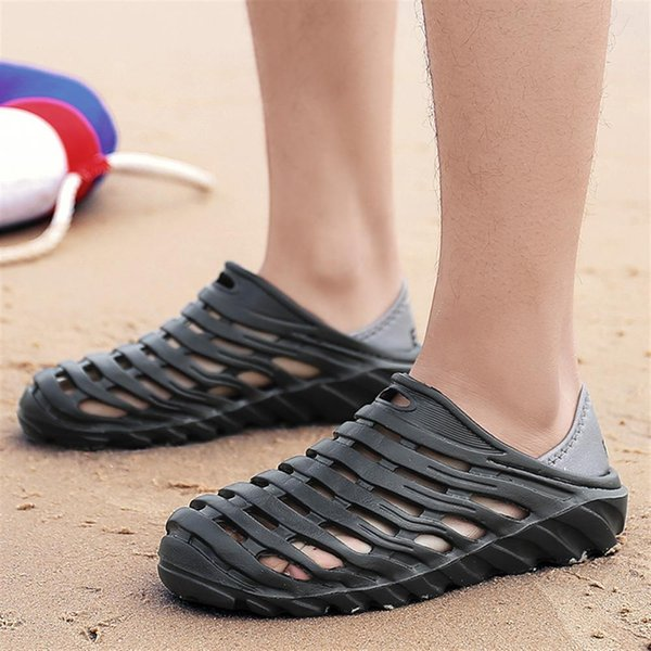 IF FEEL Summer Men Fashion Flats Hollow Out Hole Beach Breathable Sandals light Casual Shoes Soft EVA Injection Comfortable