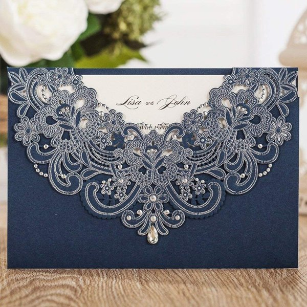 WISHMADE Personalized Printed Laser Cut Paper Invitation Wedding Cards 50pcs Free Shipping Navy Blue Invitations Envelope AW7513
