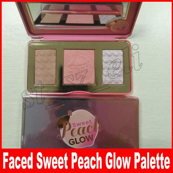 Sweet Peach Glow Highlighter Blush Palette maquillaje Sweet peach Glow Powder Maquillaje de larga duración Colorete en la cara 3 colores