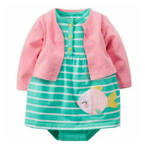 Neugeborenes Baby bebes Mädchen 2er Sets Full Sleeve O-Neck Kleid mit grünem Fisch Anzüge 100% Baumwolle Baby Kleidung Kinder Mädchen Sets