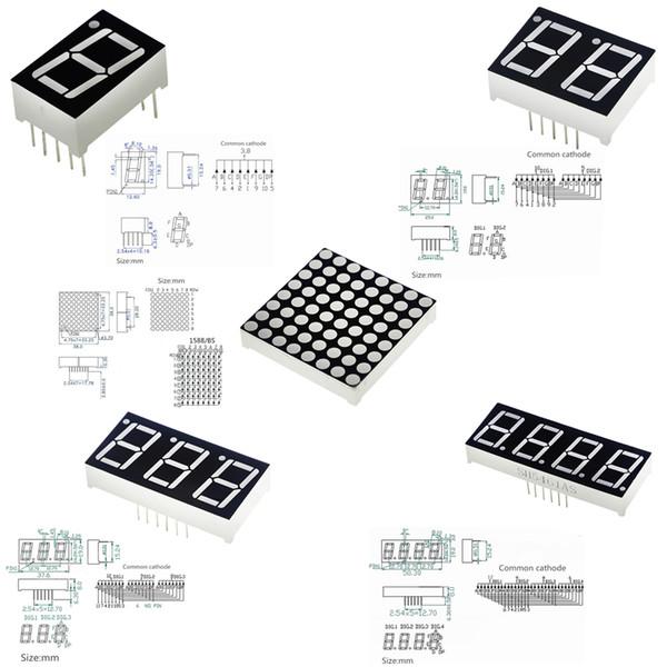 0.56 inç 7 Segment 1Bit / 2Bit / 3Bit / 4Bit Dijital Tüp Kırmızı Ortak Katot LED Haneli Ekran 8 x 8 Led Kafes Parlak Kırmızı Nokta Matrix