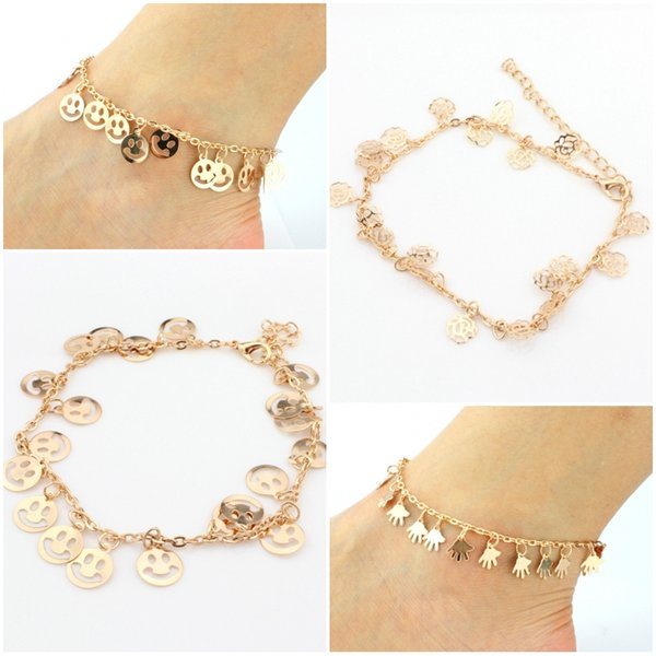top popular Womens Gold Color 3 Styles Rose Flower Palm Smile Face Anklet Bracelet Fashion Foot Jewelry Accessories D940L 2019