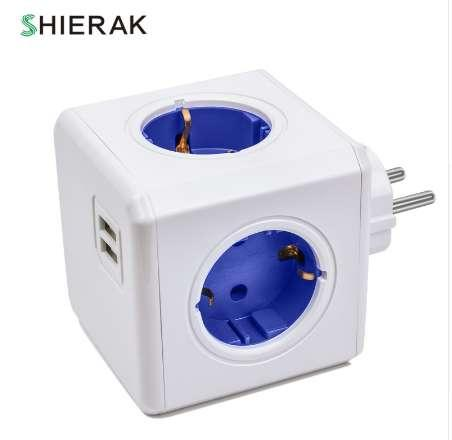SHIERAK Smart Home Power Cube Socket EU Plug 4 Outlets 2 USB Ports Adapter Power Strip Extension Adapter Multi Switched Sockets 250V