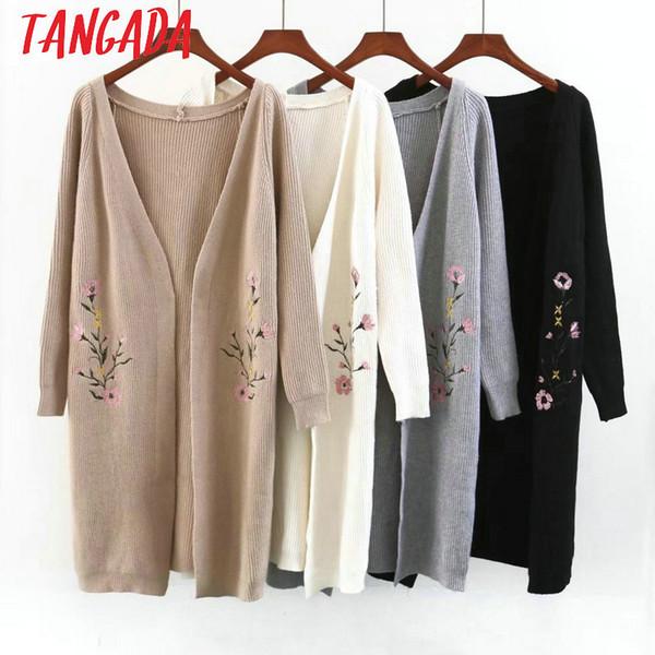 Tangada Women Floral Embroidery Long Cardigan Sweater Long Sleeve Lady Female Korea Style Warm Knit Cardigan Coat QB29