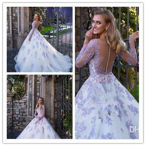 Illusion Long Sleeves 2018 Wedding Dresses Appliqued Ball Gown Bridal Gowns Sheer Backless Formal Celebrity Gowns