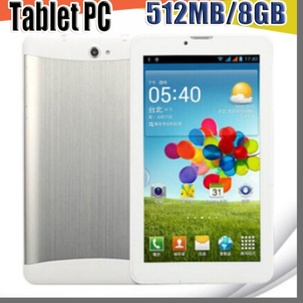 best selling 7 inch 3G Phone Call Tablet PC Android 4.4 MTK6572 512MB 8GB Dual Core 1.2GHZ Dual Camera GSM WCDMA GPS Blutooth B-7PB