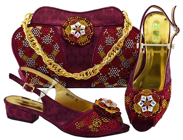 Wine Color Italian Shoe with Matching Bags High Quality African Shoe and Bag Set for Party In Women Nigerian Shoes and Bag Set MM1073