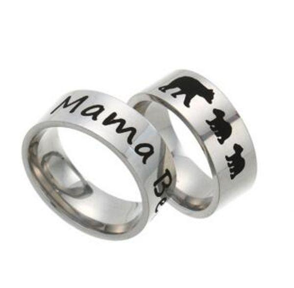 4 Styles in acciaio inox Mama Bear Ring Black smalto Cubs madre bambini banda gioielli moda anello per regalo di compleanno mamma