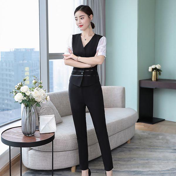 Sommer Tops für Frauen 2018 Hosen Anzüge 2 Stück Sets Outfits plus Größe Sommer Top und Hose Set schwarz elegante edle große Kleidung
