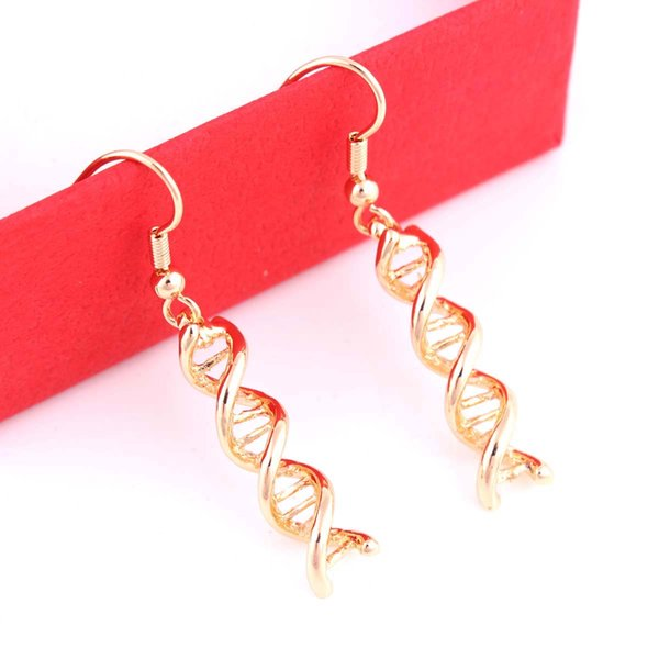 Gold Chemistry Structure Science Molecule Double Helix Spiral DNA Drop Hollow Pattern Earrings For Women Jewelry Gifts