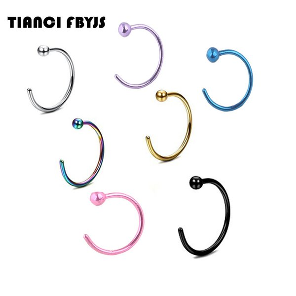 TianciFBYJS 8MM Nose Rings And Studs Surgical Steel Piercing Nose Nez Nariz Indian Hoop Nose Ring With Ball Body Piercing Je
