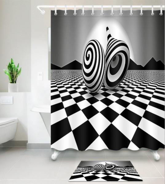 Acheter 3d Noir Blanc Impression Bain Rideaux De Douche Style Moderne Rideau De Douche Pour Salle De Bain Decor Avec 12 Crochets Ensembles De Tapis De