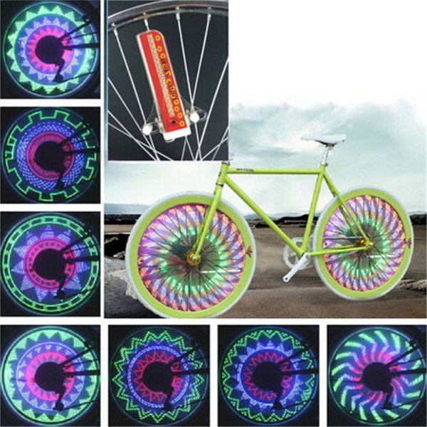 32 Colorful LEDs Bicycle Wheel Light Cycling Bike Spoke Signal Lamp Warning Lantern 32 Patterns On/off Switch Movement Sensor