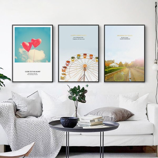 Nordic Style Abstract Canvas Art Print HD Posters Wall Love Ferris Wheel Picture Paintings Vintage Living Room Home Decoration
