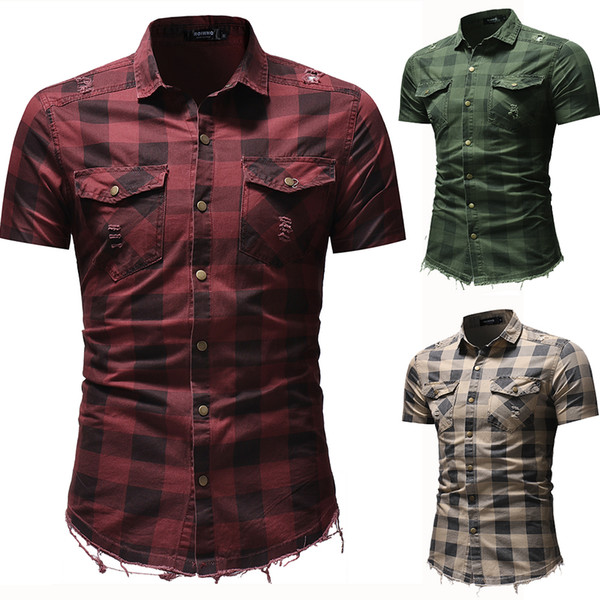 Men Plaid Shirts Short Sleeve Slim Fit Turn Down Collar Shirts with Pockets 3 Colors Summer Ripped Denim Shirt Plus Size