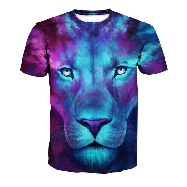 Camiseta de hombre Lion Head 3D Full Print Hombre Tops casual Camiseta unisex de manga corta gráfico digital Tees T-Shirts Blusa (RLT-4198)