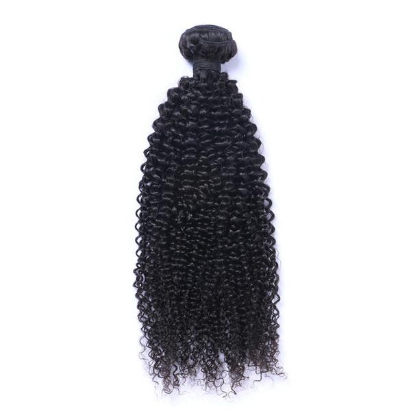 Peruvian Kinky curl Human Virgin Hair Weaves Natural Black Color 1B Bundle 100g/Bundle Double Weft Hair Extensions