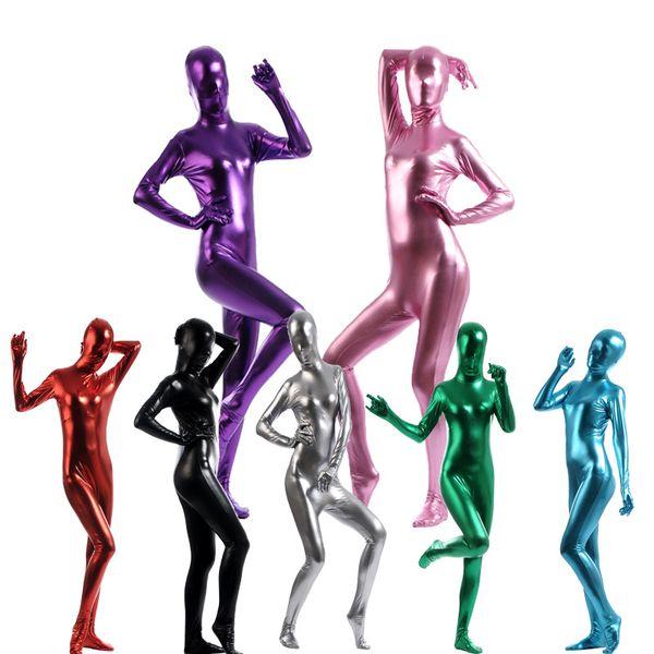 Adult Women Female Metallic Lycra Spandex Cosplay Halloween Party Full Body Zentai Jumpsuit Bodysuit Suit Unitard Plugsuit