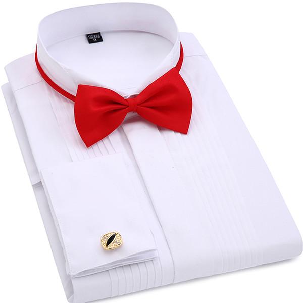 Men Wedding Tuxedo Long Sleeve Dress Shirts French cufflinks Swallowtail Fold Dark button design Gentleman shirt White Red BlackY1882203