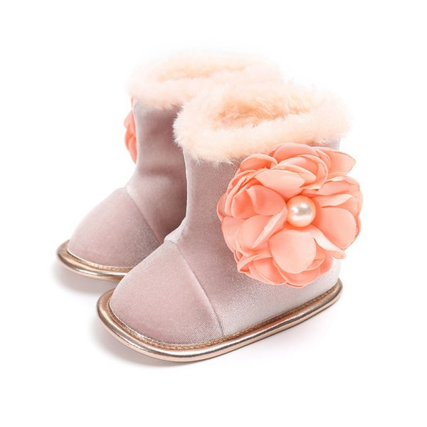 e3616b78a Winter Girls Soft Plush Booties Infant Anti Slip Snow Boots Shoes Warm Cute  Snow Baby Girl