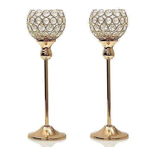 Pair Crystal Vintage Candle Tealight Holdes Metal Gold Glass Candlesticks Christmas Party Home Decor Dinning Table Centerpieces Candelabra