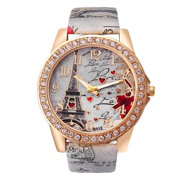 Splendid Vintage Paris Eiffel Tower Women's Quartz Watch Women Girls Ladies Students Casual Diamond Wristwatch Female Relojes