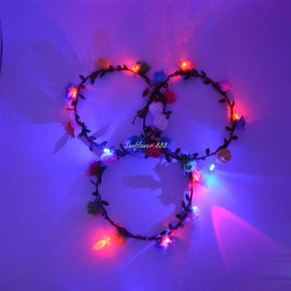Women Girls Led Flashing Light -Up Glow Floral Rose Flower Headband Garland Bohemia Hawaii Wreath Wedding Decoration