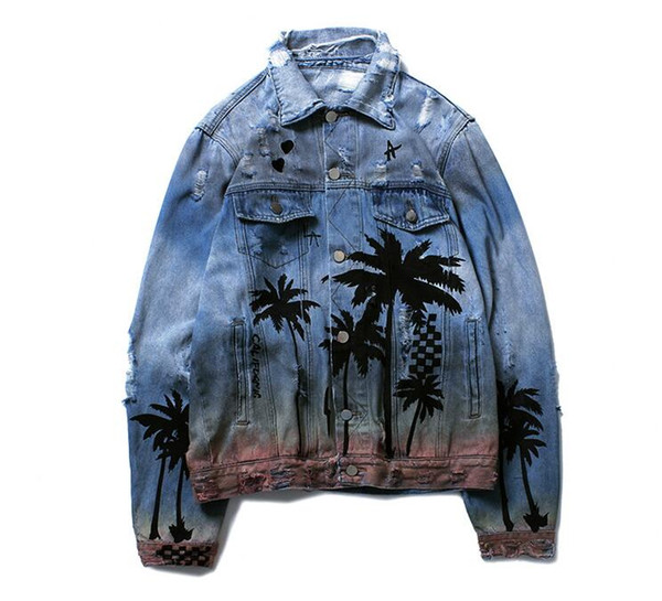 Coconut Tree Pattern Design Mens Womens Loose Denim Jackets Hip Hop Streetwear Cool Biker Jackets Male Vintage Ripped Gradien Cowboy Jackets