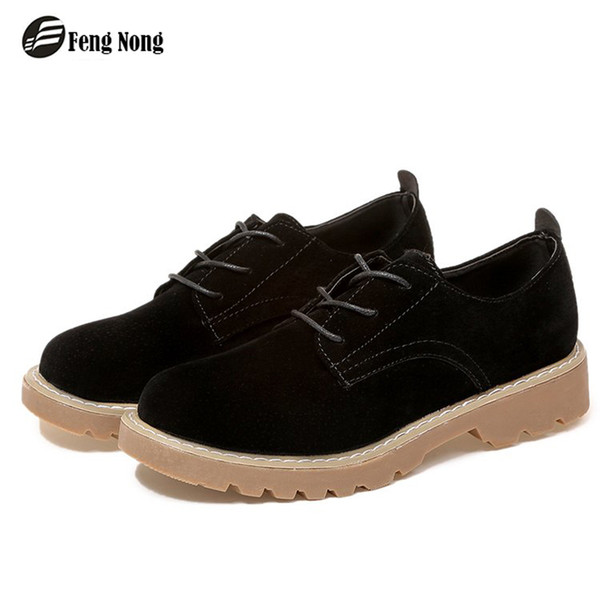 Fengnong Classical Women Boots Lace Up Cute Simple Smart Fashion Shoes Girl's Soft Pu Leather For Spring Autumn Boots WBT103