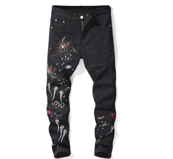 New Fashion Mens Slim Straight Casual Jeans Digital Printing Flowers Star Black Stretch Stage Style Nightclub Skinny Denim Pants