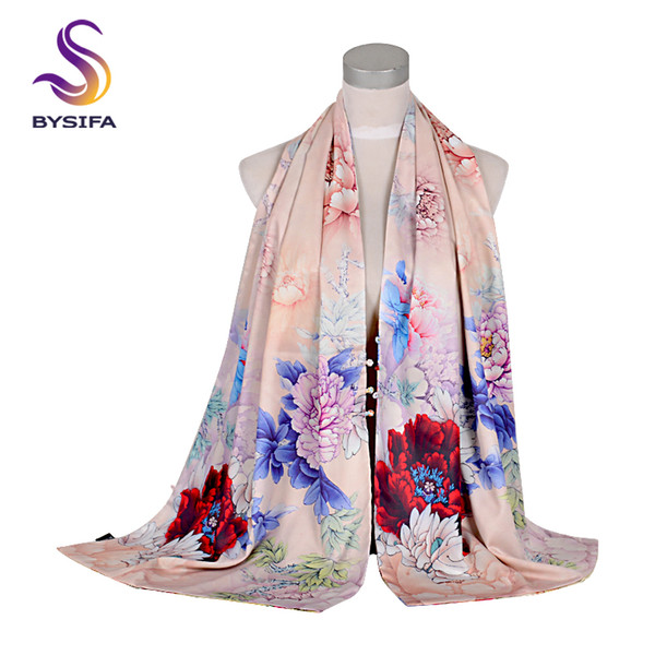 [BYSIFA] Chinese Style Peony Silk Scarf Shawl Women Spring Autumn Long Scarves 2018 Elegant Vintage Buttons Beige Pink Scarves