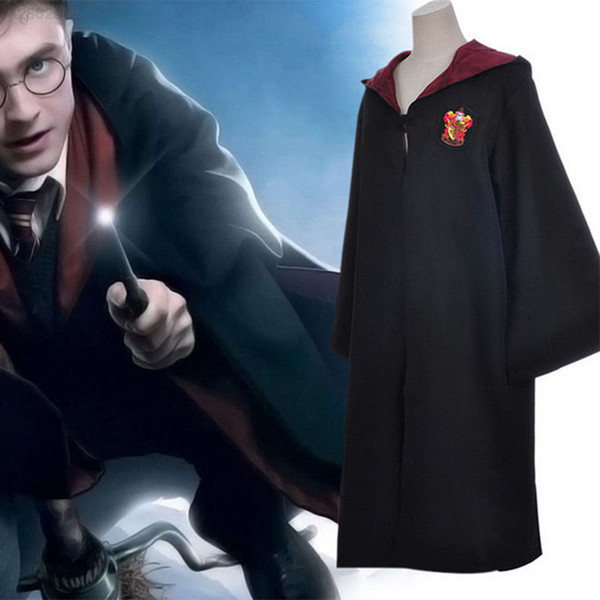 top popular Harry Potter Robe Cloak Cape Cosplay Costume Kids Adults Unisex Gryffindor school Uniform clothes Slytherin Hufflepuff Ravenclaw MMA721-1 2019
