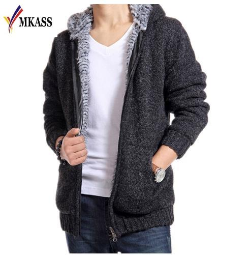 2017 New Arrivals Fashion Mens Sweaters Velvet Warm Hooded Cardigan Thicken Sweater Men Imported Clothing Casual Coat