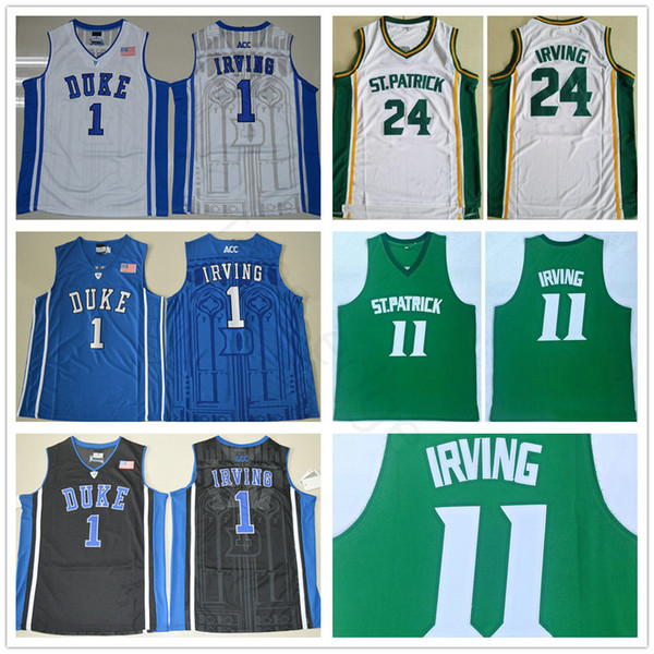 NCAA St. Patrick High School #11 Kyrie Irving Green Basketball Jersey Stitched 24 Kyrie Irving White Duke Blue Devils College Jerseys Shirts