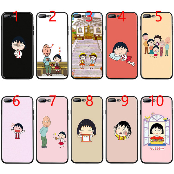 Japan Girl Cherry chibi maruko chan Soft Black TPU Phone Case for iPhone XS Max XR 6 6s 7 8 Plus 5 5s SE Cover