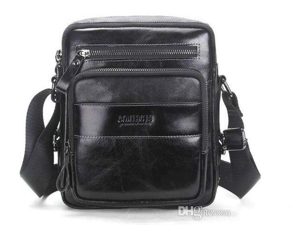 Brand designer-2018 New Arrival Genuine Wax Leather Men's Cross Body Bag Shoulder Bags For Men Messenger Bag Portfolio High Quality