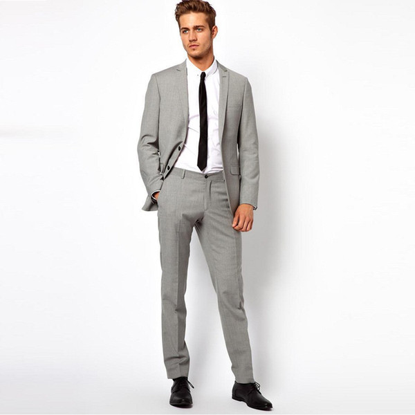 507dfb9ed36e Light Grey Men Wedding Suits Groom Tuxedos Formal Business Prom Wear 2  Pieces (Jacket+