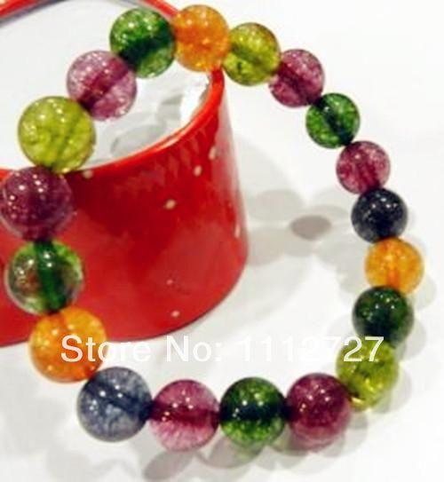 11.11 gioielli Beads pietra naturale 10mm regalo multicolore braccialetto perline Tourmaline rotonda per donne della ragazza 7.5inch all'ingrosso