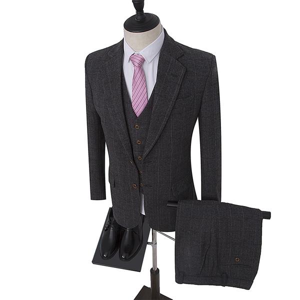 Dark Grey Herringbone Retro gentleman style Men's suits tailor suit Blazer Tweed suits for men 3 piece (Jacket+Pants+Vest) S18101902