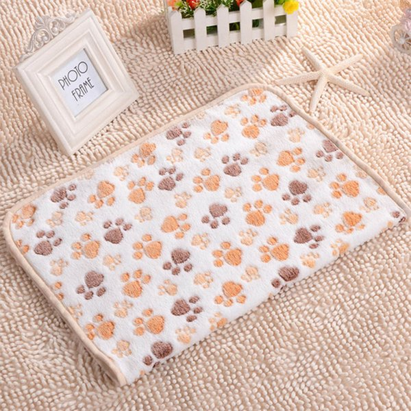 best selling 3 Color Cute Floral Pet Cat Sleep Warm Paw Print Dog Cat Puppy Fleece Soft Dog Blanket Pet Dog Beds Mat for dogs 40 X 60cm