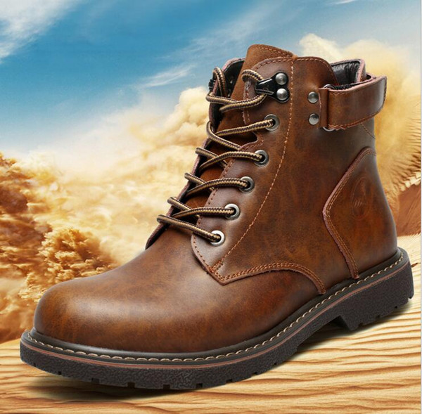 men's boots new autumn and winter high fashion vintage ankle boots solid color Martin shoes size 38-44