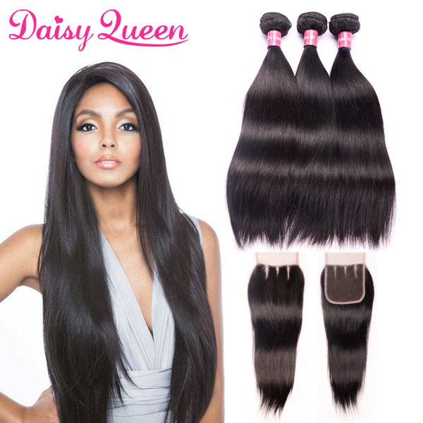 8A Malaysian Straight Human Hair Bundles with Lace Closure Malaysian Virgin Hair With Closure Peruvian Indian Brazilian Hair Weave Bundles