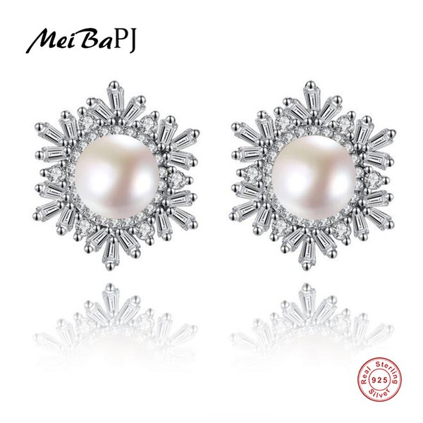 [MeiBaPJ] Natural Pearl Snowflake Stud Earrings Real 925 Pendientes de moda de plata esterlina para mujeres