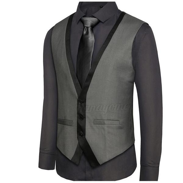 New Arrival Mens Suit Vest V Neck Contrast Color Slim Fit Dress Vests Men Back Strappy Waistcoat