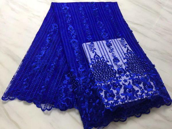 5 ярдов/ПК горячей продажи королевский синий французский чистой кружевной ткани с бисером украшения африканской сетки кружева вышивка для платья BN101-3