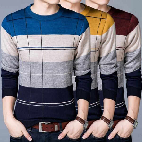Devolove Neue Heiße Mode Männer Casual Oansatz Pullover Herbst Slim Fit Langarmhemd Gestreift Gestrickt Plus Größe 3XL AD00125